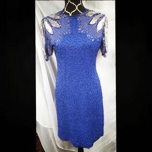 Vntg Scala beaded sequins sheath dress